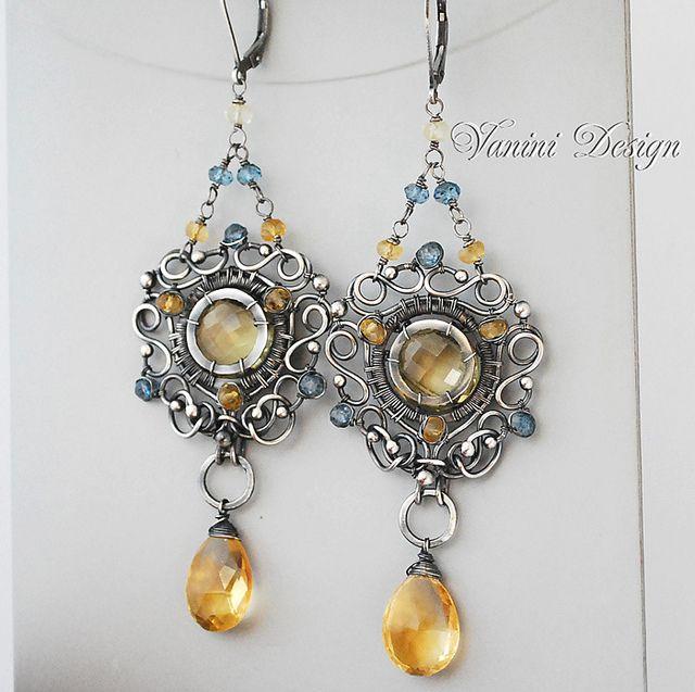 Sun & Earth-Fine/Sterling Silver, Lemon Quartz, Golden Citrine,Teal blue quartz earrings by Vanini