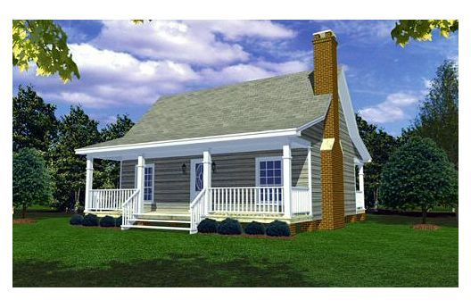 2 bedroom, 2 porches (back one screened in!) 1 story 800 square feet.  This is the house we had planned to build before we bought our lot with a dbl. wide manufactured home aka trailer.  I LIKE my dble wide.