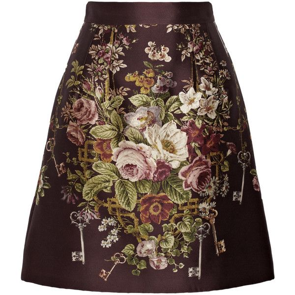 Dolce & Gabbana Printed silk and wool-blend skirt (€735) ❤ liked on Polyvore featuring skirts, red, flower print skirt, brown a line skirt, brown skirt, dolce gabbana skirts and red skirt