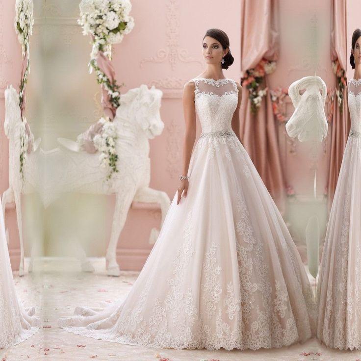 A-line Sweetheart Lace Beaded Belt Backless Wedding Dress