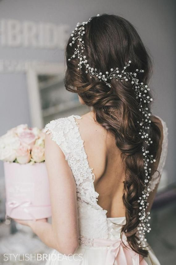 "59/"" Long Wedding Hair Vine Crystal Pearl Headband Bridal Accessories Gold Silver"