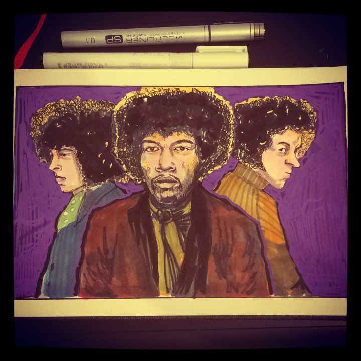 #inktober Day 12. Oct 12, 1966. Jimi Hendrix Experience forms with Jimi Hendrix, Noel Redding, & Mitch Mitchell. #inktober2017 #rocknroll #purplehaze #legend #art🎨 #copic #posca #sketch #music #goat #foxy #lady #girl #artwork #artfido #graphicdesign #wip #greatest #electricguitar #blues #jimihendrix