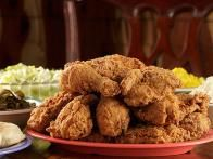 "CLASSIC FRIED CHICKEN: ~ From: ""Food Network.Com."" ~ Recipe Courtesy Of: BOBBY FLAY (Throwdown With Bobby Flay - Fried Chicken.) ~ Prep.Time: 15 min; Inactive Time: 5 hrs; Cook Time: 25 Min; Total Time: 5 hrs, 40 min. Cooking Temp: Oil 350 degrees. Level: Intermediate; Yield: (4 servings)."