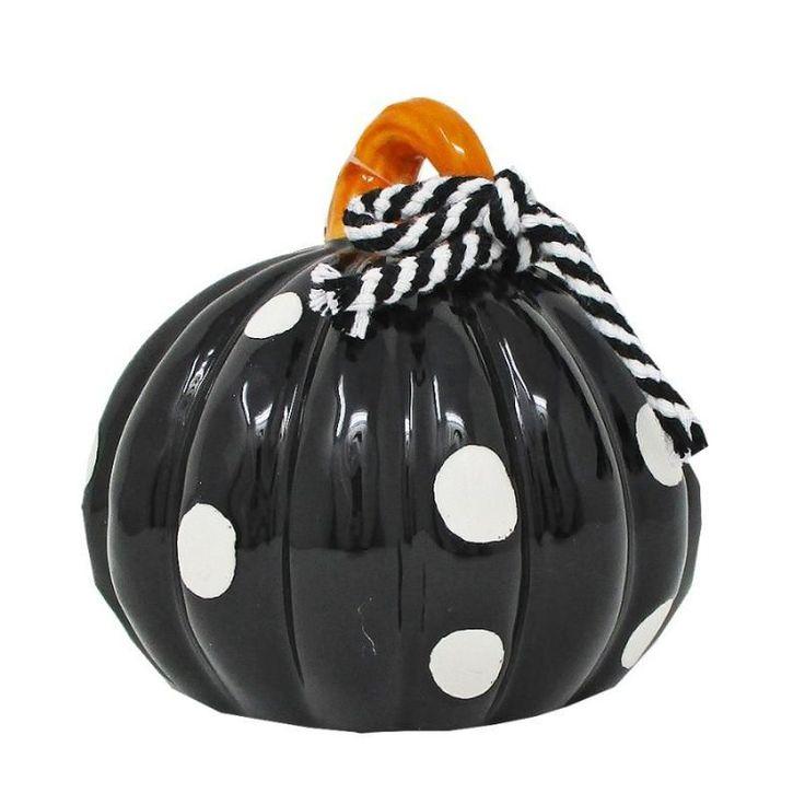 4 Black And White Polka Dot Ceramic Pumpkin Gift Shop In 2020 Ceramics Pumpkin Gift Black And White