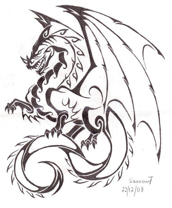 Tribal Dragon Tattoo Sketch                                                                                                                                                                                 Más