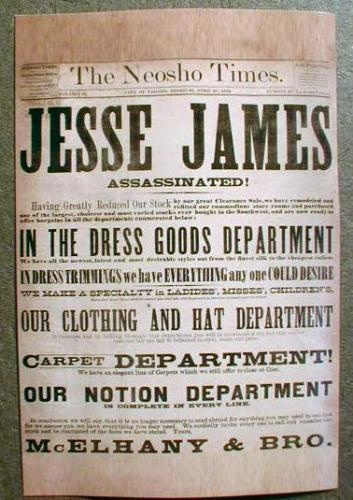 *THE NEOSHO TIMES ~ Jessie James assissinated ~