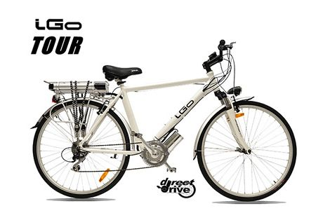 iGo Tour- iGo E-Bikes have 300% more torque! The iGo Direct-Drive System produces 3X the torque of a 500W hub motor.The iGo Direct-Drive System is located at the crank to provide a low center of gravity and superior balance. The 250W motor is coupled to the gearbox which produces unmatchable torque for maximum hill climbing ability.