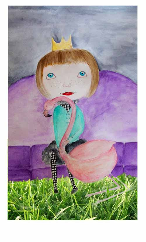 Fantasy art flamingo princess girl holding a by NataliesWunderland
