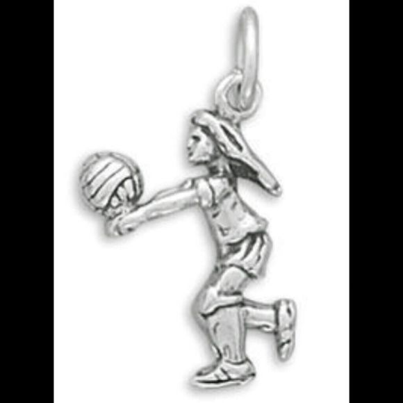 VOLLEYBALL PLAYER CHARM NEW GENUINE .925 Sterling Silver All That Glitters Jewelry