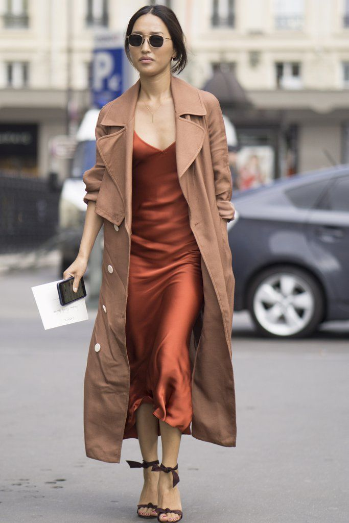 Best Outfit Ideas For Fall And Winter  Satin rust slip dress with camel winter