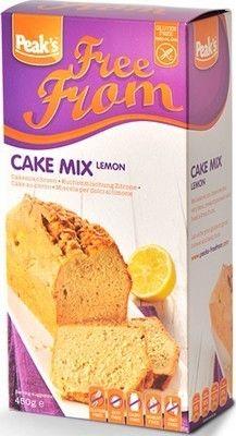 PEAK'S préparation pour cake citron sans gluten 450gr. Gluten free.PEAK'S préparation pour cake au citron sans gluten. Ramolir 225 g de margarine ou beurre pour obtenir une masse lisse, incorporer 4 œufs et 450 g de préparation pour cake sans gluten. Battez quelques minutes pour obtenir une masse légère. Versez la pâte dans un  moule. Faites cuire à 180°C pendant 50 à 60 minutes. www.chockies.net