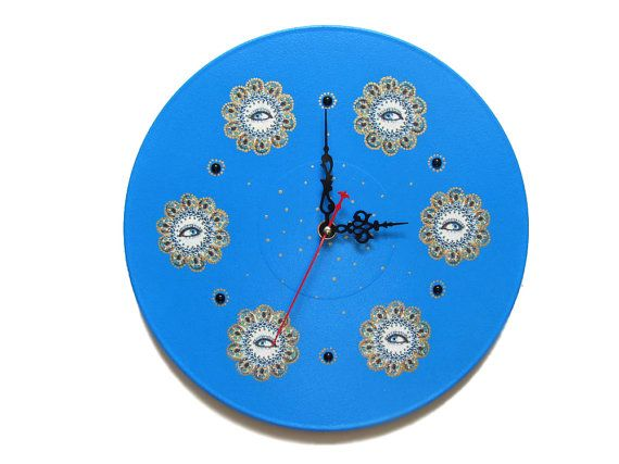 Wall Clock Blue Eyes unique gift kids clocks blue by OlgaArtShop