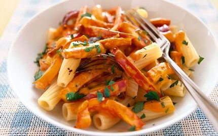 Korvpanna i italiensk sås - kan använda creme fraiche med tomat och basilika