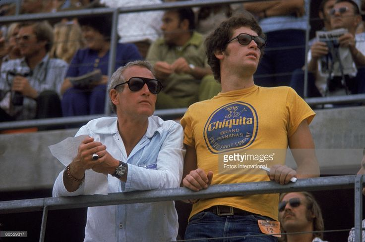 American actor Paul Newman and his son Scott Newman (1950 - 1978) attend the Ontarion 500 automobile race, Ontario, California, September 3, 1972.