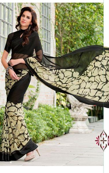 Picture of Tangerine Black Printed Saree