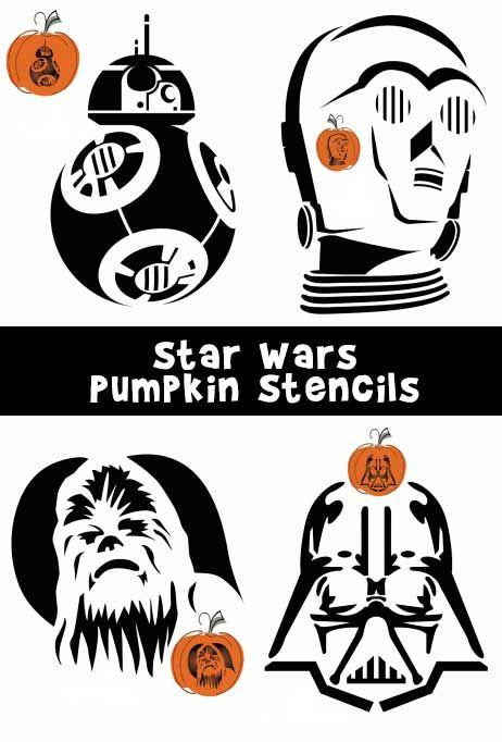 8 Star Wars pumpkin carving patterns including Darth Vader, Darth Maul…