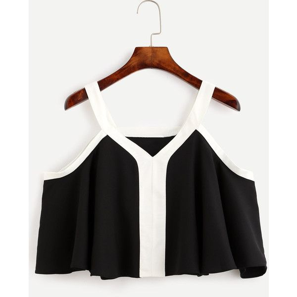 Black Cold Shoulder Contrast Trim Ruffle Blouse (58 ILS) ❤ liked on Polyvore featuring tops, blouses, frilly blouse, ruffle top, cold shoulder blouse, contrast trim blouse and flounce tops