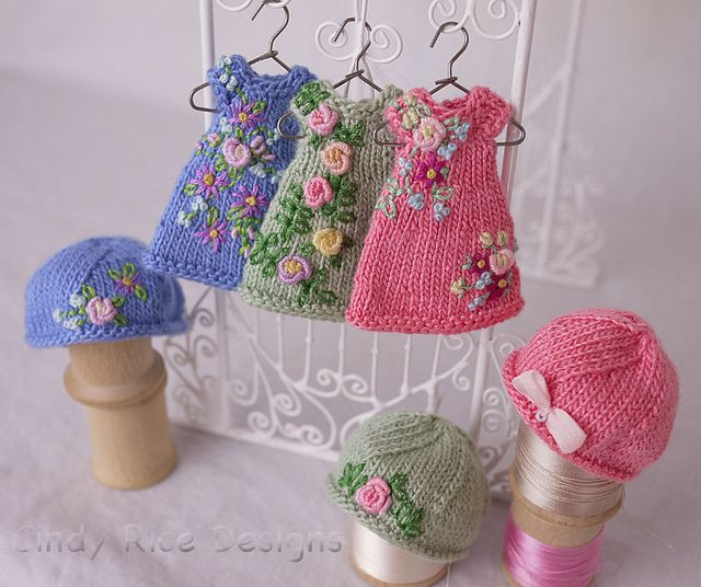 Knitting Patterns For Tiny Dolls : Hand knit and embroidered dress/hat sets for teeny tiny ...