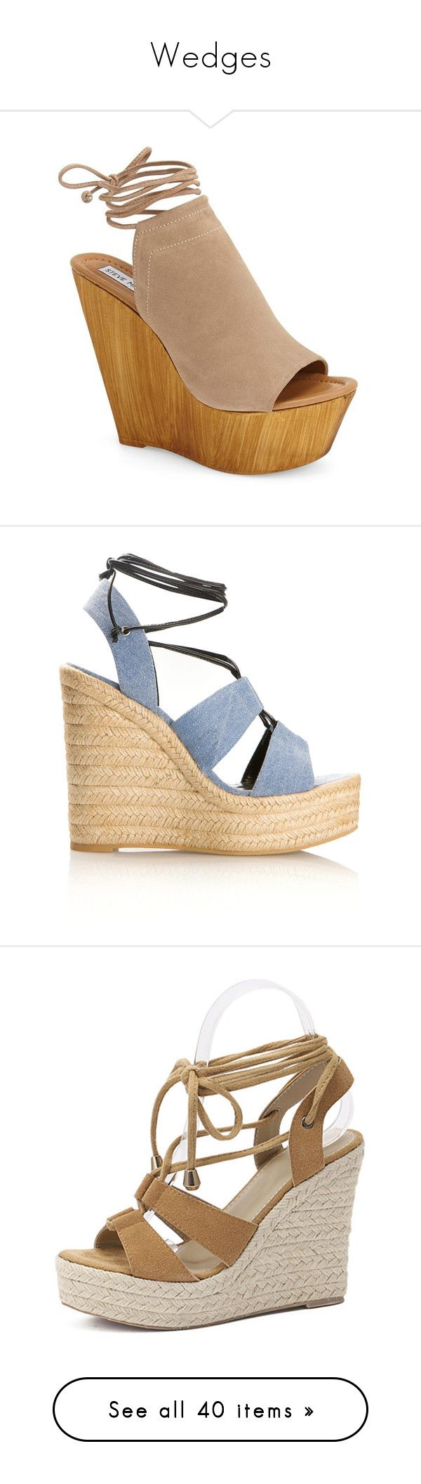 """Wedges"" by samantharaet ❤ liked on Polyvore featuring shoes, sandals, heels, wedges, taupe suede, high heel wedge sandals, wedge heel sandals, strappy high heel sandals, steve madden sandals and heeled sandals"