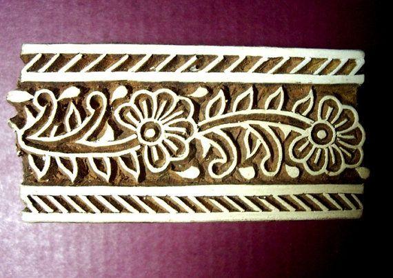 Border Wood Flower Stamp Hand Carved Indian by PrintBlockStamps