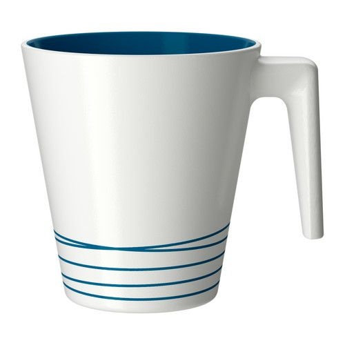 HURRIG  Mug, white, turquoise  $1.49  Article Number:   901.841.51  Stackable; saves space when stored.