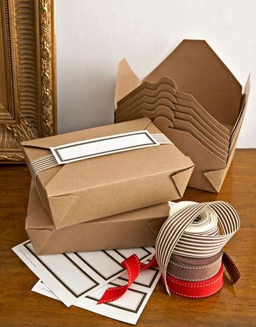 Giftwrapping ideas: use take-out boxes (MS: great, but the site they link to requires you to buy a case (~200 boxes). I don't give that many gifts or send home that many leftovers.)