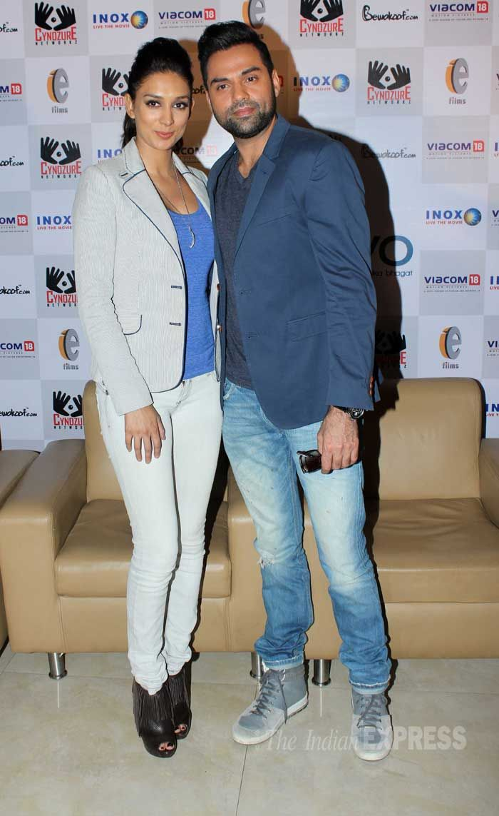 Abhay Deol and girlfriend Preeti Desai launched the merchandise of their film together, 'One By Two'. #Style #Bollywood #Fashion #Beauty