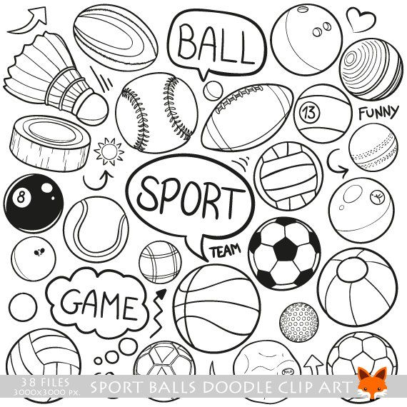 VECTOR EPS Sports Olympic Balls Team Doodle Icons Clipart