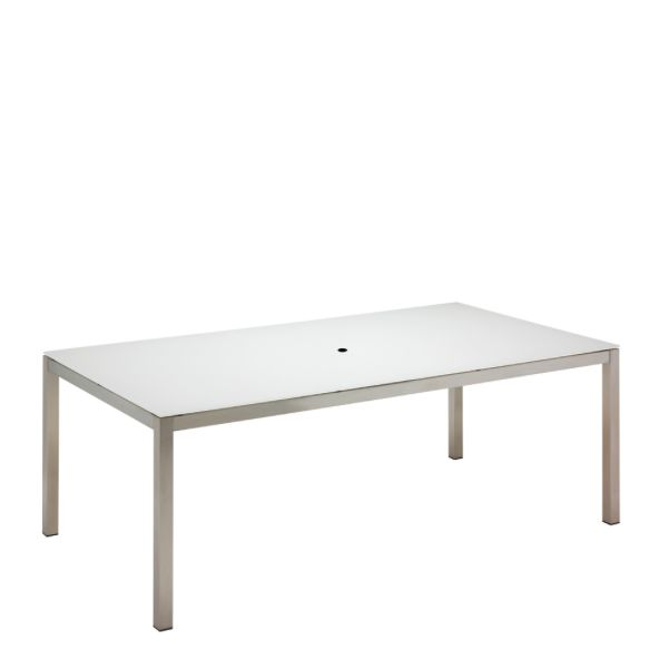Kore Small Rectangular Dining Table Electropolished Frame / White HPL Top