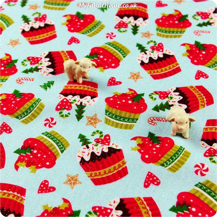 Tea & Cake ♥ 52x49cm Christmas Cupcakes Glitter Blue Cotton Fat Quarter Fabric £3.25