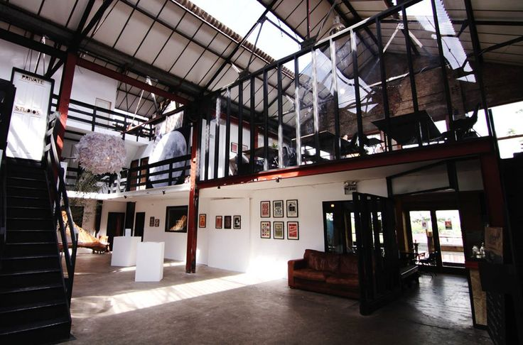 A large open plan gallery space with fantastic views of the River Lea and the Olympic Stadium.