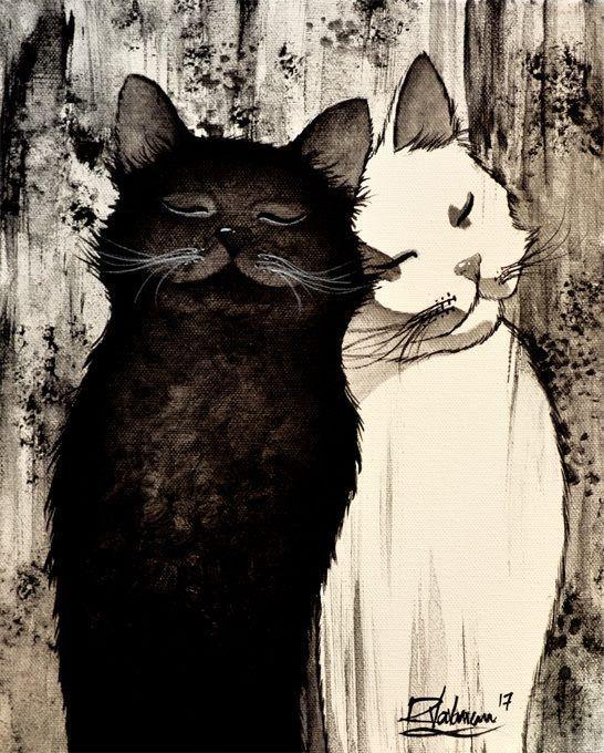 большой коты в черно белом цвете картины канцтовары, покупка