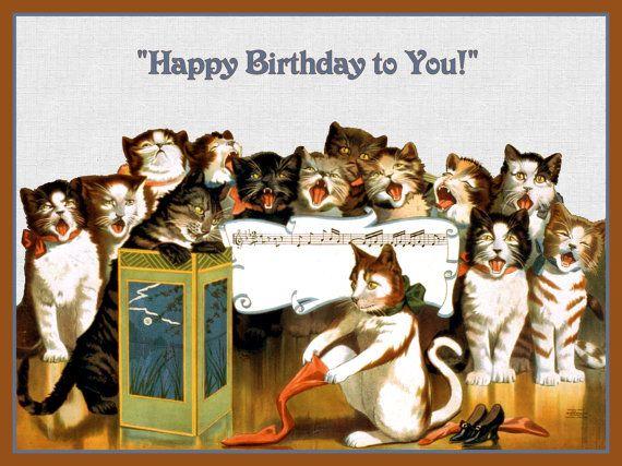 Kitten Singing Happy Birthday   Group of Cats Singing Happy Birthday Refrigerator Magnet - free US ...