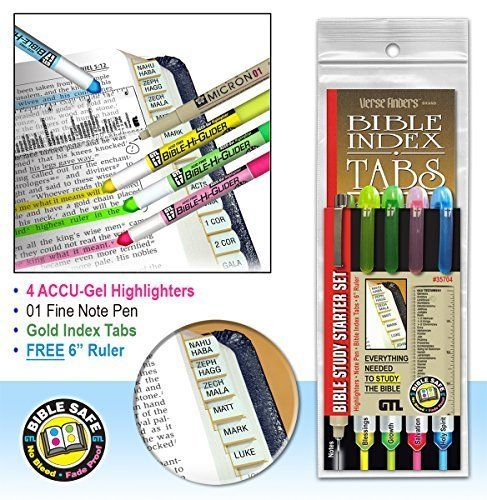Bible Study Highlighter Starter Set with Gold Indexing Tabs