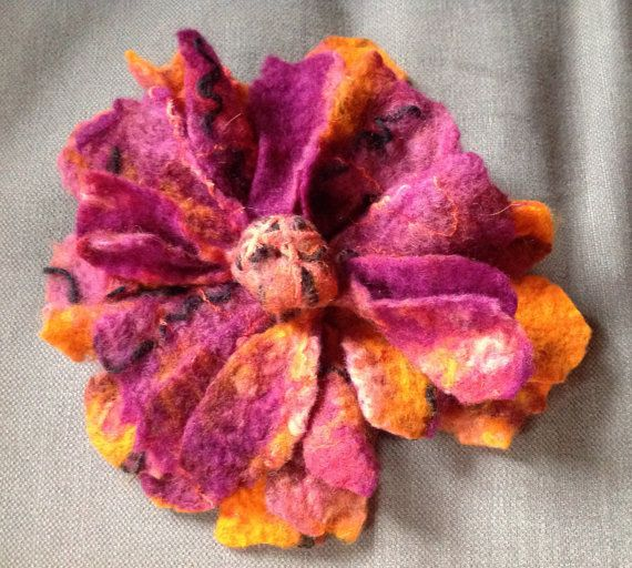 Nuno Felted wool flower pin brooch corsage purple orange coral magenta- Dramatic…