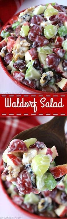 Waldorf Salad- loaded with apples, grapes, celery, dried cranberries, walnuts, and vanilla yogurt. It will make for a perfect side dish for your Thanksgiving and Christmas dinners.