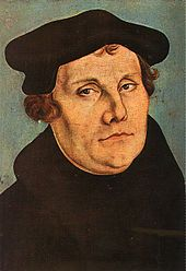 Martin Luther, shown in a portrait by Lucas Cranach the Elder, initiated the Protestant Reformation in 1517