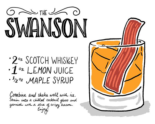 Friday Happy Hour: The Swanson Cocktail Recipe Card | Illustration: Shauna Lynn for Oh So Beautiful Paper