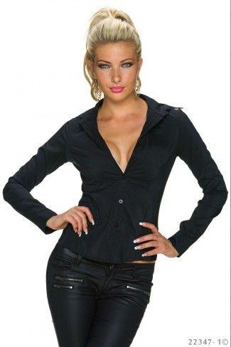 Μακρυμάνικο μεσάτο πουκάμισο - Μαύρο