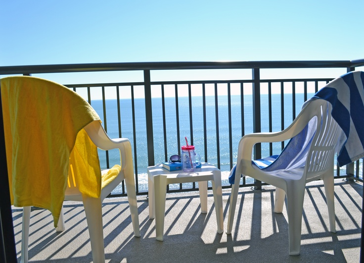 Relax on your private balcony and enjoy the beautiful beach scenery at you oceanfront hotel in Myrtle Beach, SC.