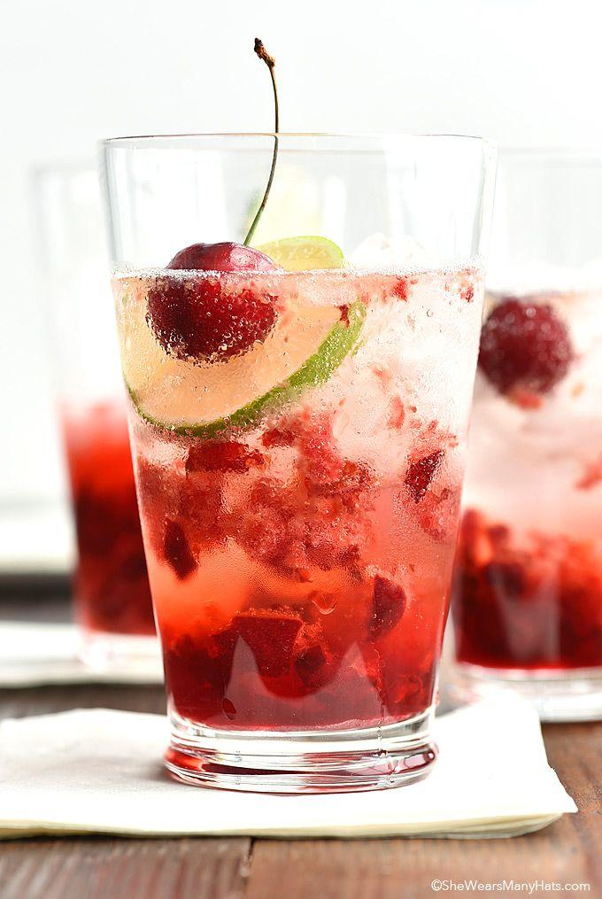 Cherry Gin Fizz Recipe (a non-alcoholic version can be easily made too!) shewearsmanyhats.com