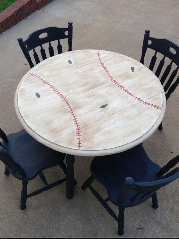 "Baseball Table-painted this set for a friend's ""Brave's Themed Room""! Check out my Facebook page Now and Then Creations!!"
