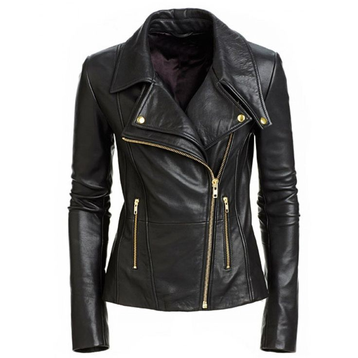 Aries Leathers Women New Biker Real Lambskin Leather Jacket WJ07 (XL, Black)