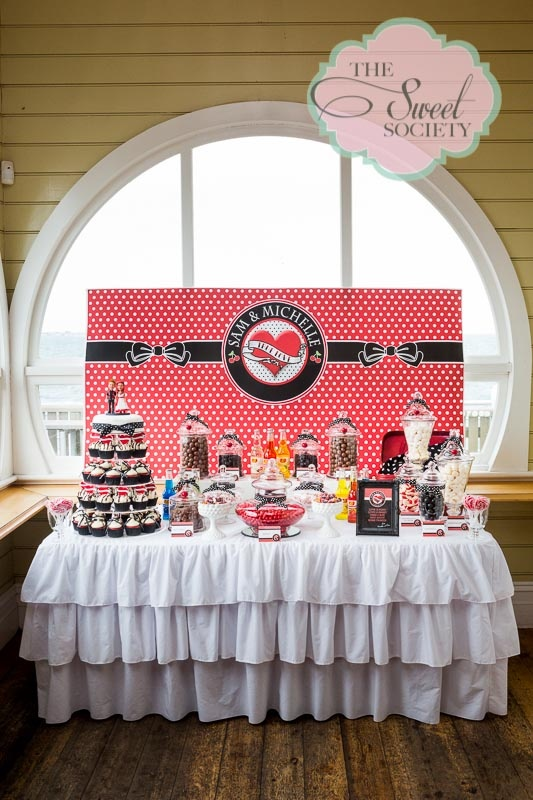Rockabilly wedding candy buffet, with cupcake tower wedding cake