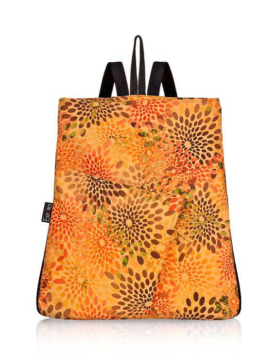 FLORAL ORANGE BACKPACK purse Vegan Woman Back by estelladesign