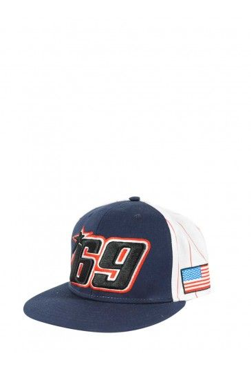 Nicky Hayden Flat peak Cap 69. Cap in baseball style with the number Nicky Hayden 69 embroidered on front, on sides the american flag and on back the letters NH.
