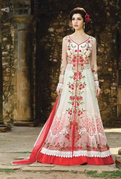 6cb07d981a Featuring white and red designer embroidered party wear suit with lace work  on the borders of dupatta. TOP: Net, georgette and australian silk BOTTOM:  ...