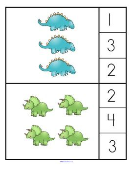 "A ""counting/associate the number with a set"" (0-10) game with a dinosaur theme for young learners. 2 levels of set arrangement - easier to count/ harder to count. 13 pages."