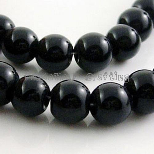 Черного стеклянные круглые бусины strands, Размер : около 3 мм в диаметре, Отверстие : 1 мм, Около 110 шт. / strand, 13