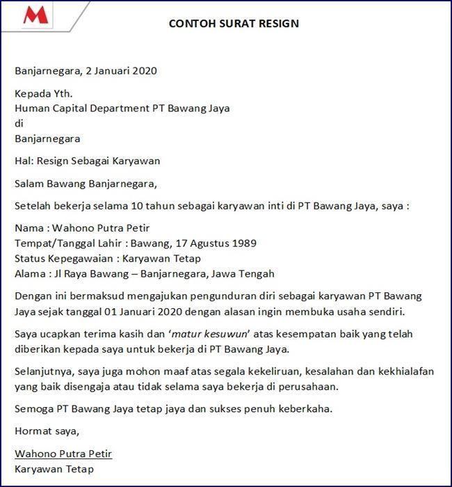 Contoh Surat Pengunduran Diri Dari Perusahaan Resign Surat Pengunduran Diri Surat Pendiri